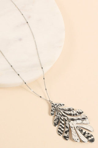Keily Tropical Leaf Pendant Necklace