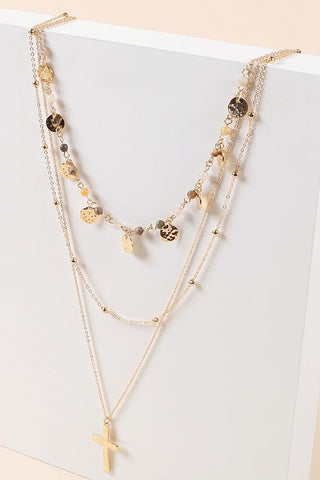 Becca Layered Cross Necklace