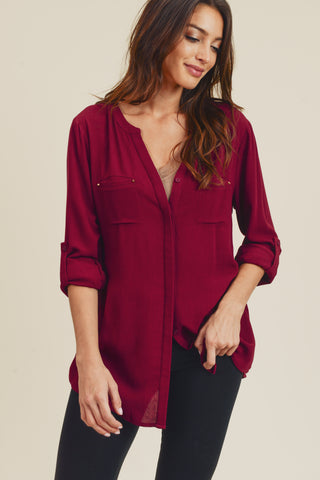 Amiyah Long Hidden Placket Blouse