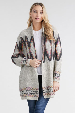 Cheyenne Abstract Open Front Cardigan