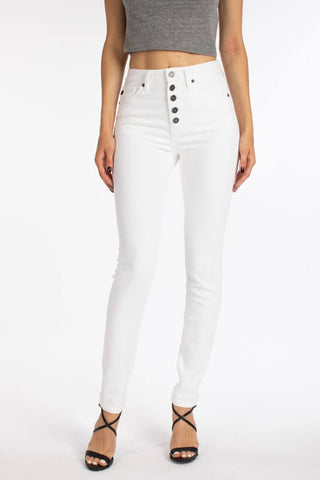 KanCan White Super Skinny Button-fly Jeans