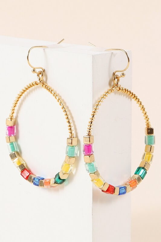 Harmony Glass Beaded Hoop Earrings