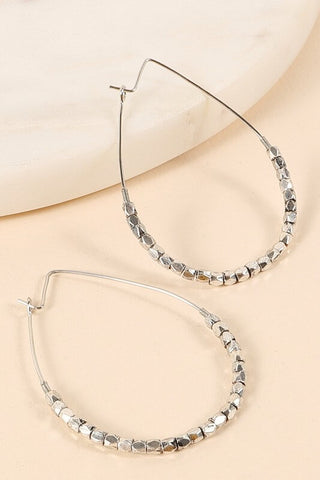 Oaklynn Tear Drop Wire Hoop Beaded Earrings