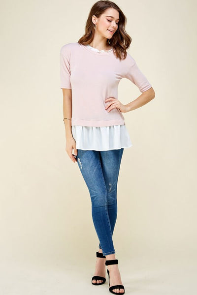 Alice Short Sleeve Layered Look Top