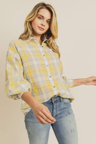 Adelaide Balloon Sleeve Button Down Top