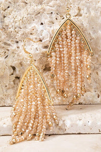 Celine Glass Beaded Tassel Earrings