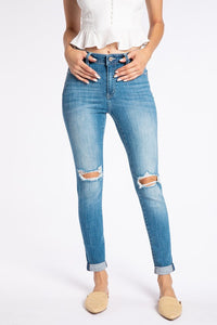 KanCan High Rise Medium Wash Distressed Jeans