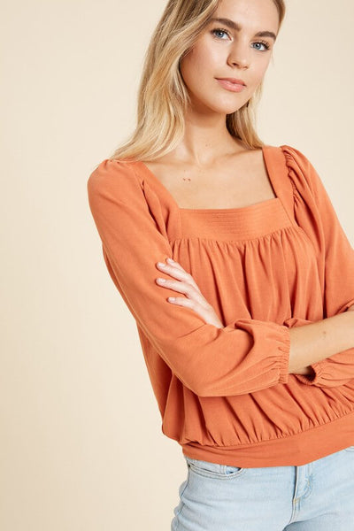 Giselle Square Neck Peasant Top