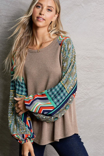 Malia Boho Printed Sleeve Top
