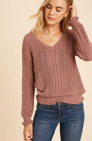 Ellis Smocked Waist Sweater