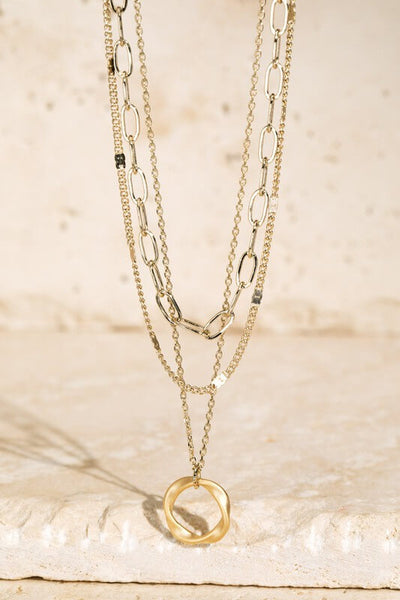 Tacey Ring Charm Layered Necklace