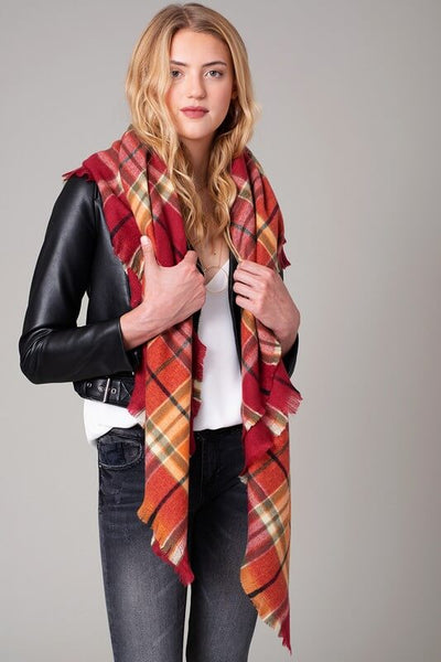 Angelina Plaid Square Scarf