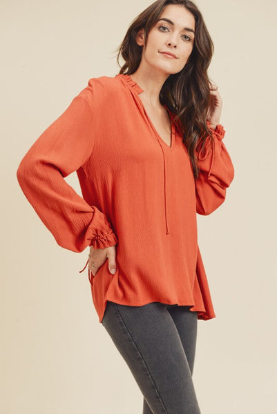 Analia Ruffle Collar Top