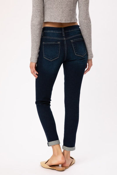 KanCan Gemma Distressed Mid Rise Ankle Skinny Jeans