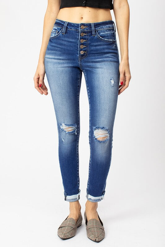 KanCan High Rise Button Fly Ankle Skinny Jeans