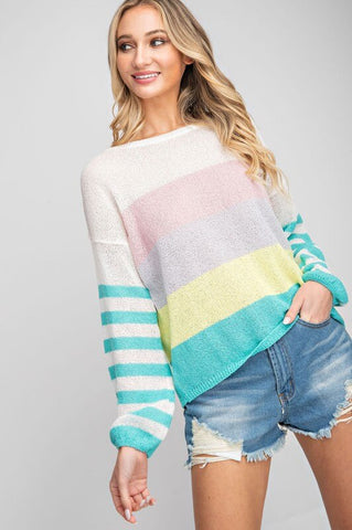 Jaden Colorblocked Soft Knit Sweater