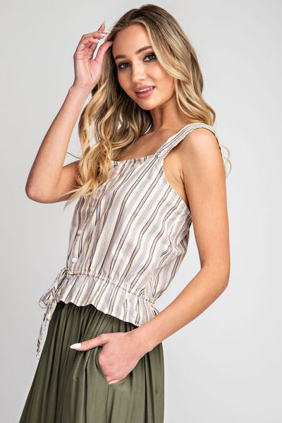 Betsy Striped Button Front Tank