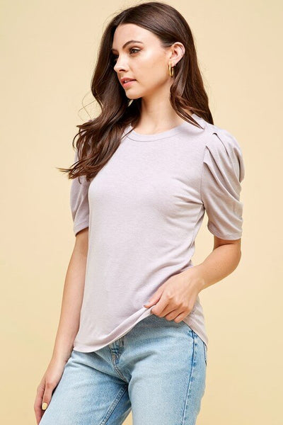 Mila Solid Pleated Sleeve Top