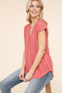 Maggie Collarless Button Down Top