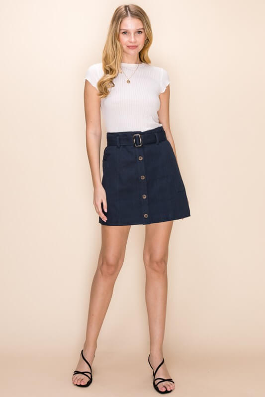 Talia Belted Button Down Skirt