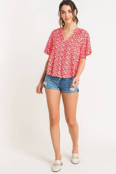 Delaney Floral Flutter Sleeve Blouse