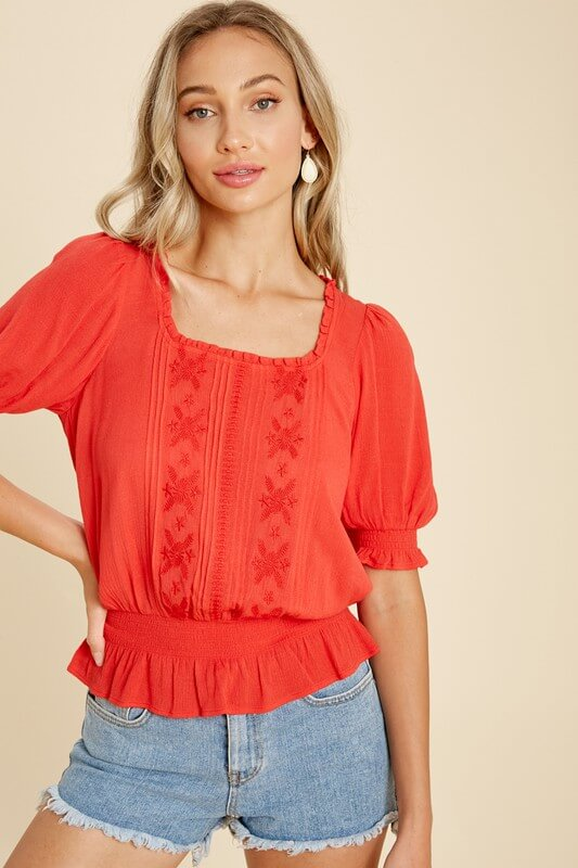 Brynn Embroidered Smocked Waist Blouse