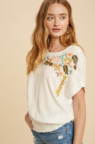 Bronte Embroidered Dolman Sleeve Top