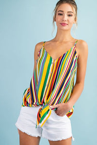 Polly Striped Tie-Front Cami