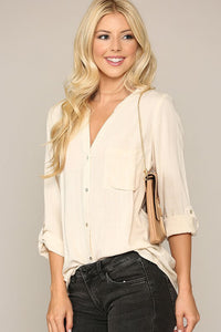 Camdyn Collarless Button Down Top