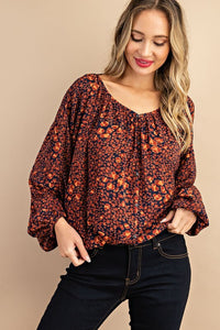 Marla Pleated Puff Sleeve Blouse