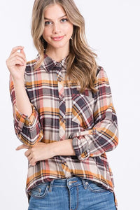 Abilene Plaid Button Down Top