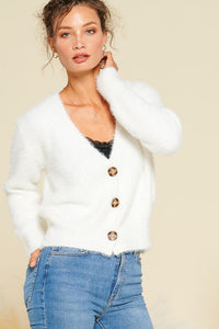 Remi Button Front Fuzzy Cardigan