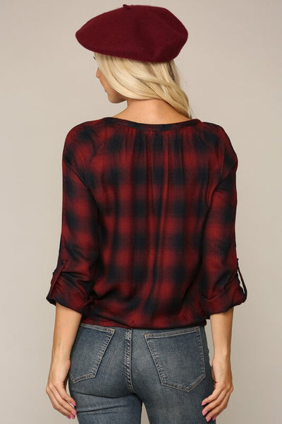 Izzie V-Neck Plaid Blouse