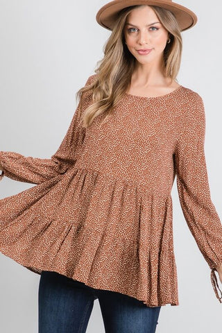 Megan Dainty Print Tiered Top