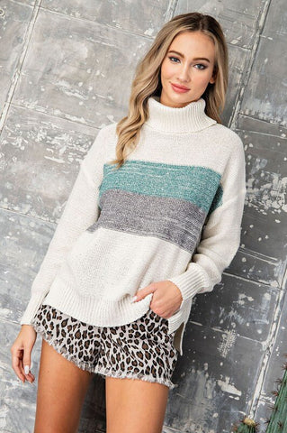 Danica Colorblock Turtleneck Sweater