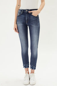KanCan High Rise Layered Frayed Ankle Skinny Jeans