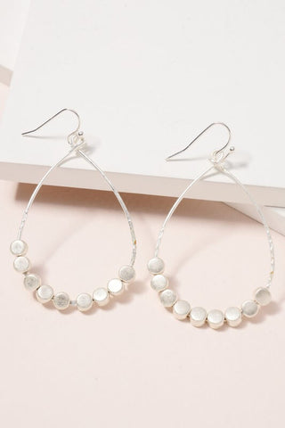 Metal Beaded Teardrop Earrings- Silver