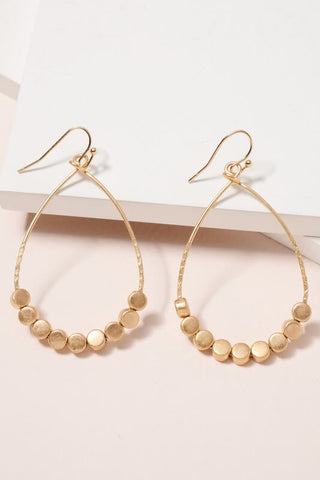 Metal Beaded Teardrop Earrings- Gold