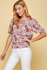 Harlow Smocked Floral Top