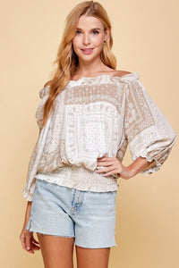 Kelby Off-Shoulder Bandana Print Top