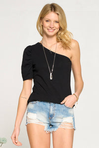 Whitley One Shoulder Puff Sleeve Top