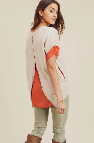 Aspen Layered Short Sleeve Knit Top