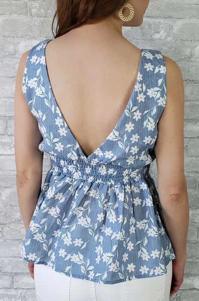 Allison Sleeveless Floral Peplum Top