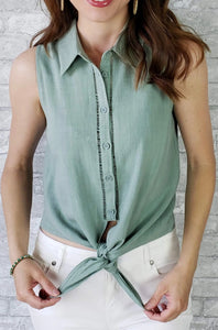 Madeline Solid Button Down Top