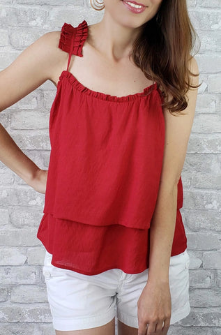 Alexis Tiered Pleated Strap Tank