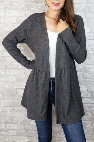 Willow Waffle-Knit Cardigan with Gathered Waist