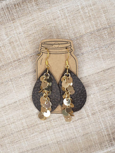 Brown Bomber Gold Dangle Chain Teardrop Leather Earrings