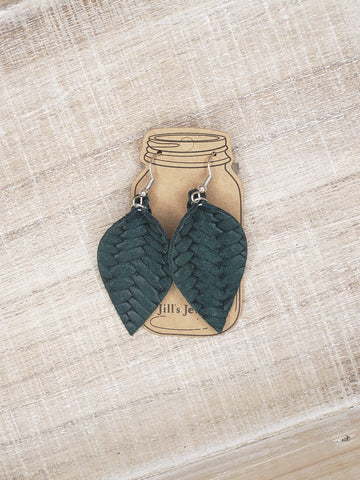 Green Braid Textured Leather Earrings