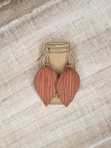 Cinnamon Palm Leaf Textured Leather Earrings