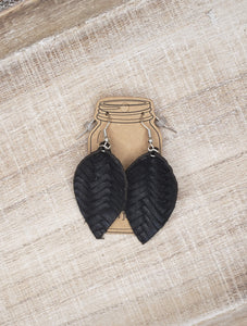 Black Braid Textured Leather Earrings